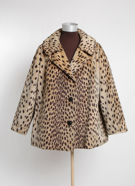 1960's Leopard Print Faux Fur Swing Coat