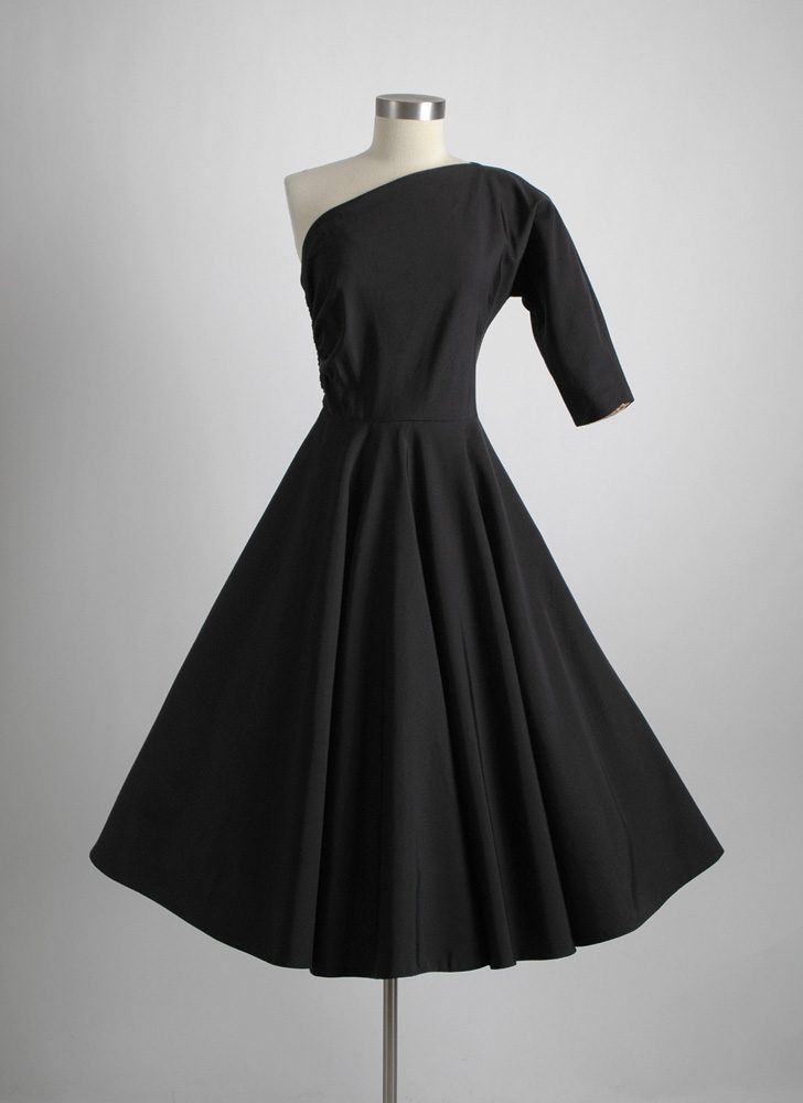 1950s one-shoulder black faille dress