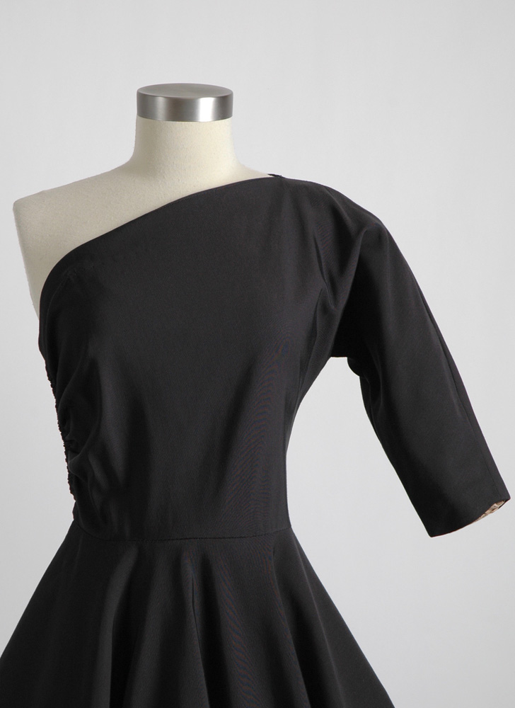 1950s one-shoulder black faille dress