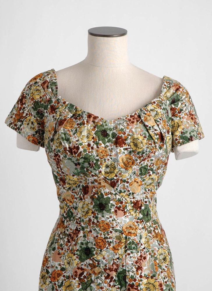 1950s 60s Alix of Miami flocked velvet dress