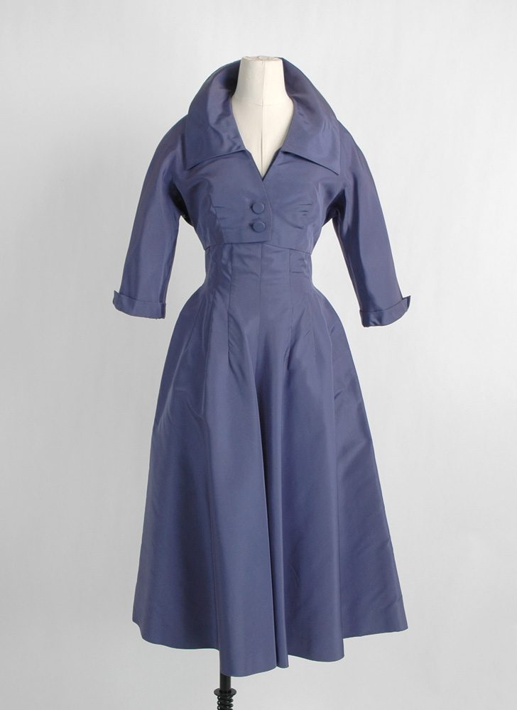 1950s Adele Simpson purple silk dress + bolero