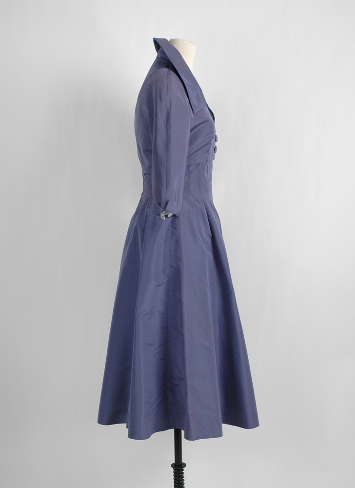 1950s Adele Simpson purple silk dress + bolero