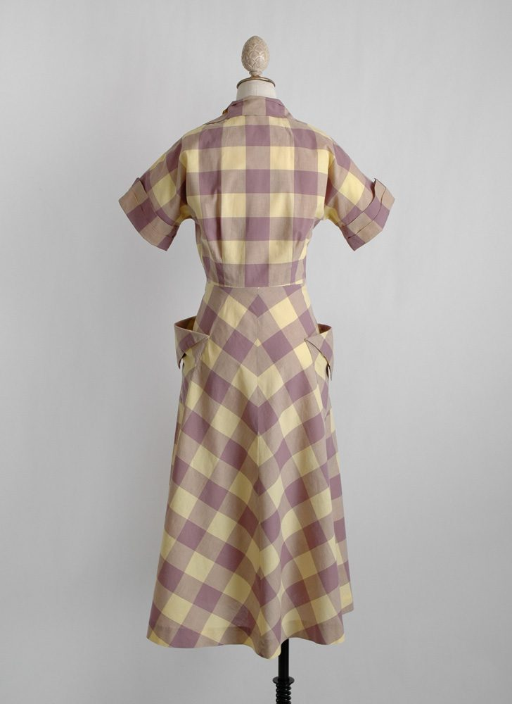 1940s check dress with tucks + dramatic pockets