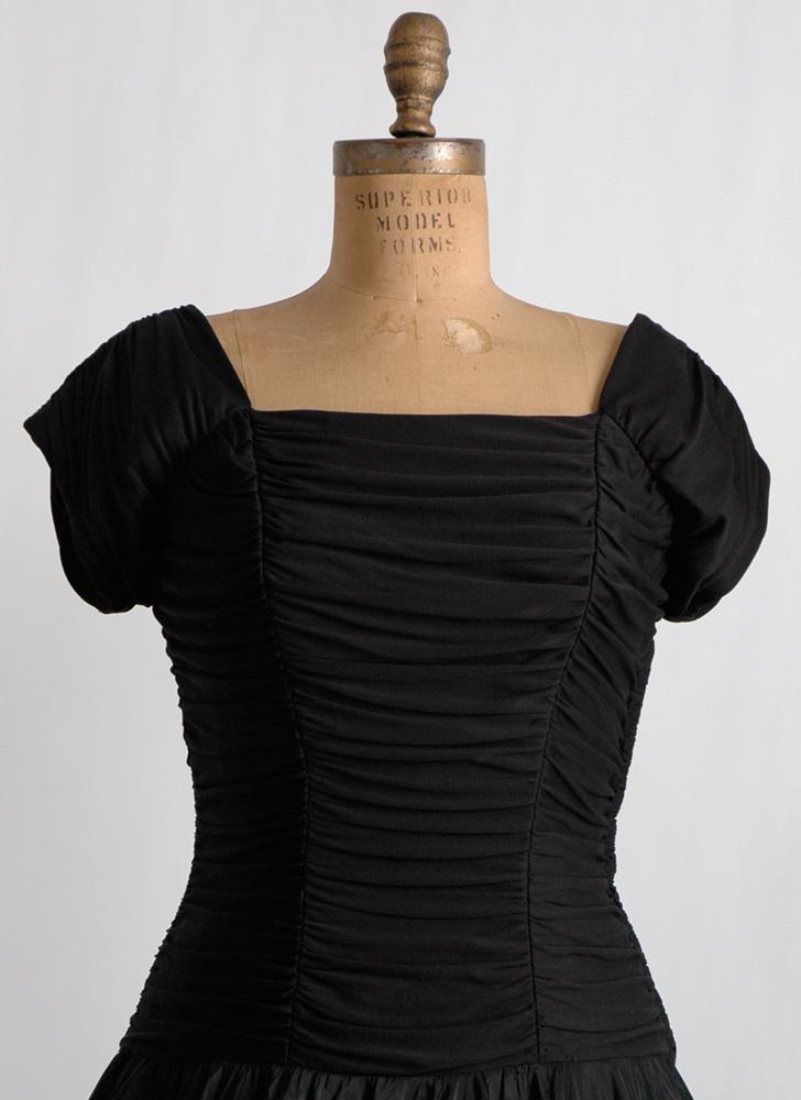 1950s black draped jersey + taffeta dress