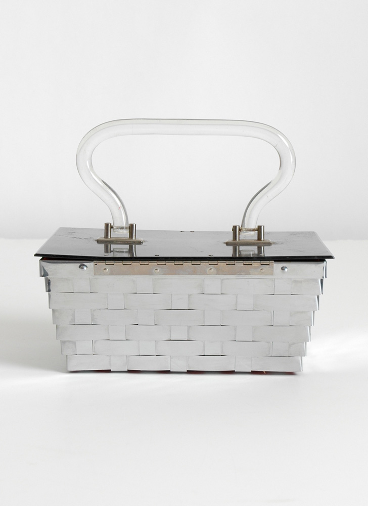 1950s Dorset Rex Metal Basket Weave Lucite Purse