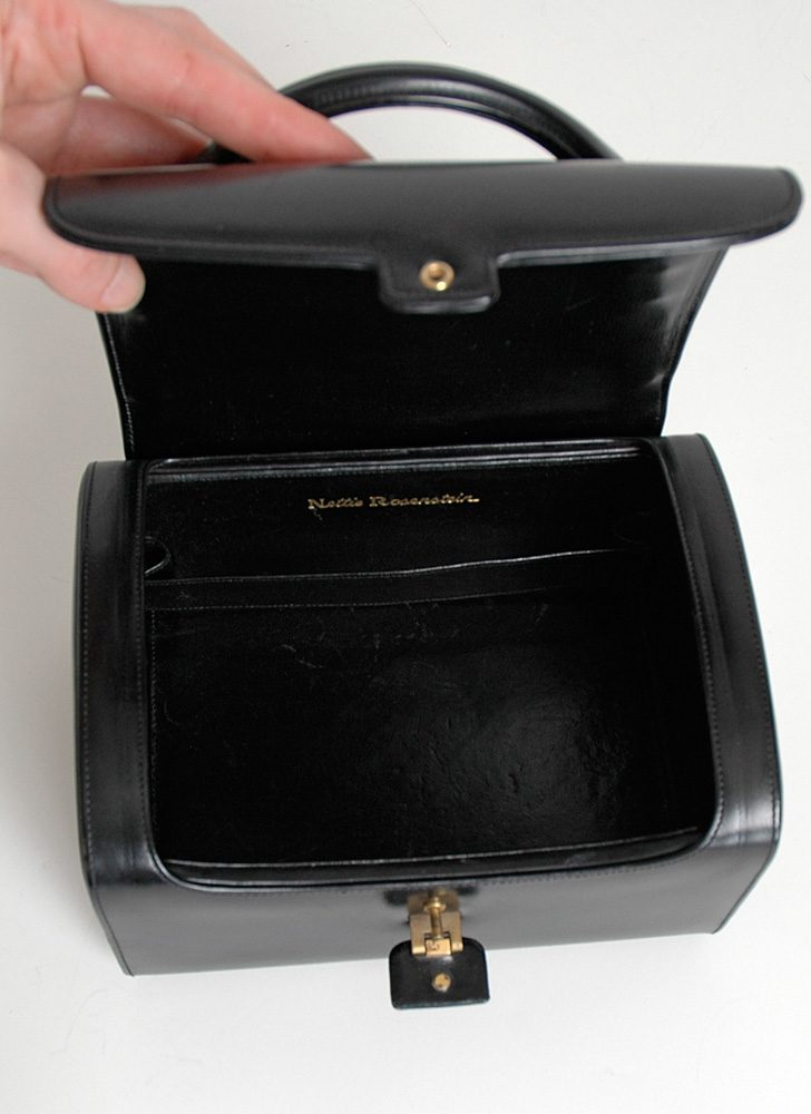 1950s Nettie Rosenstein black leather box purse
