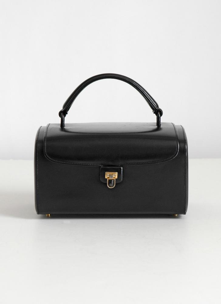 1950s Nettie Rosenstein black leather box purse