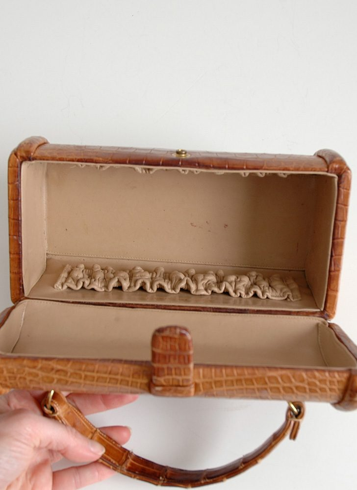 1950s Nettie Rosenstein real crocodile box purse