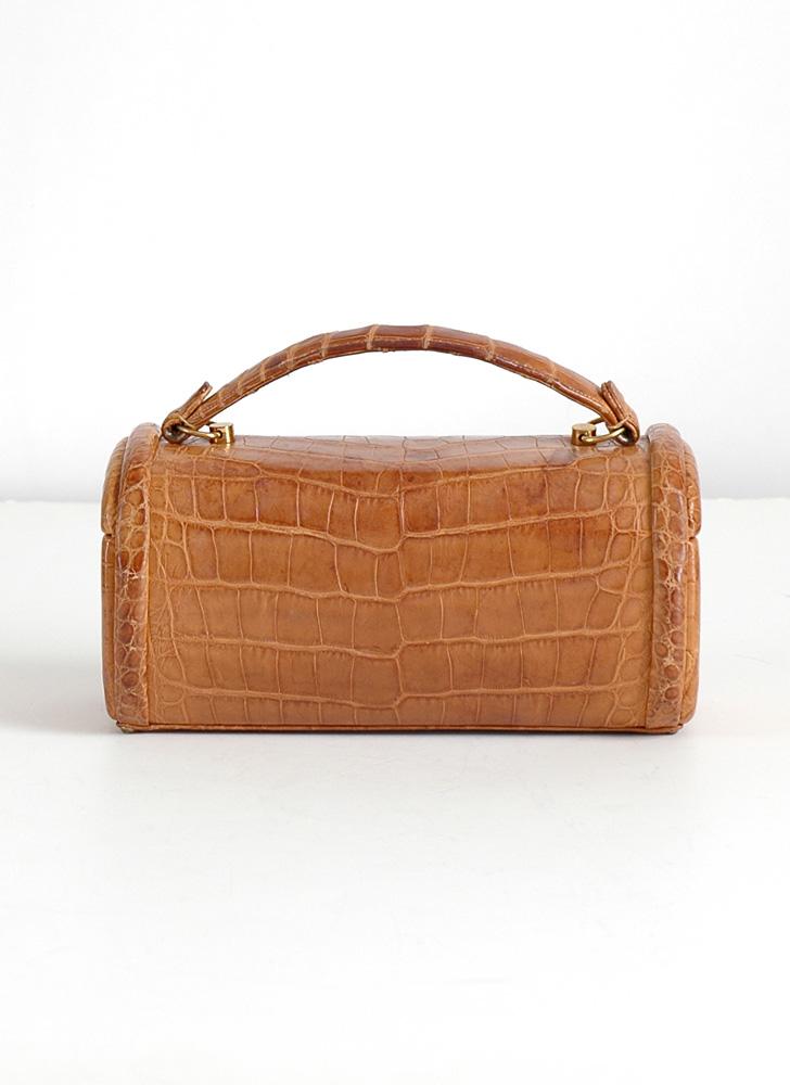 1950s Nettie Rosenstein real crocodile box purse
