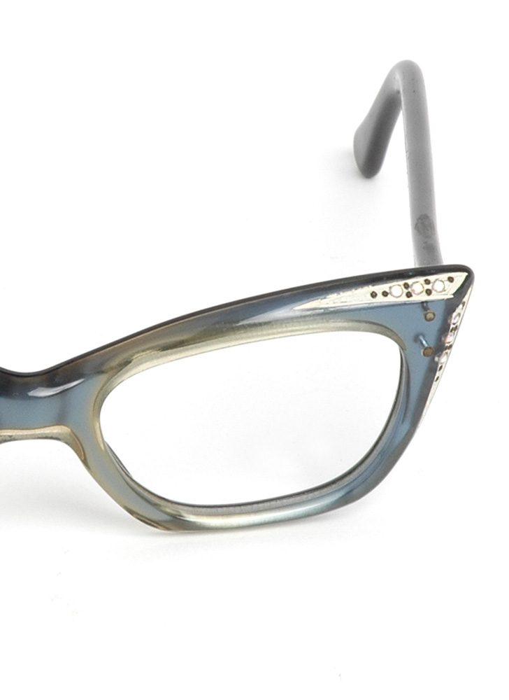 1950s French blue cat-eye glasses frame