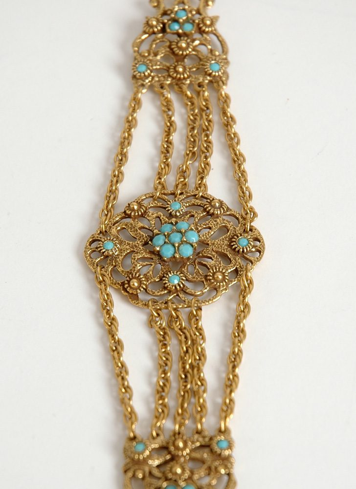 1950s Victorian-inspired choker with faux turquoise