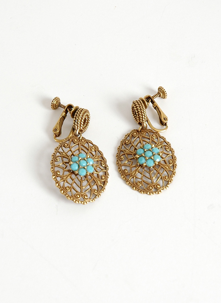 1950s Victorian-inspired faux turquoise dangle earrings