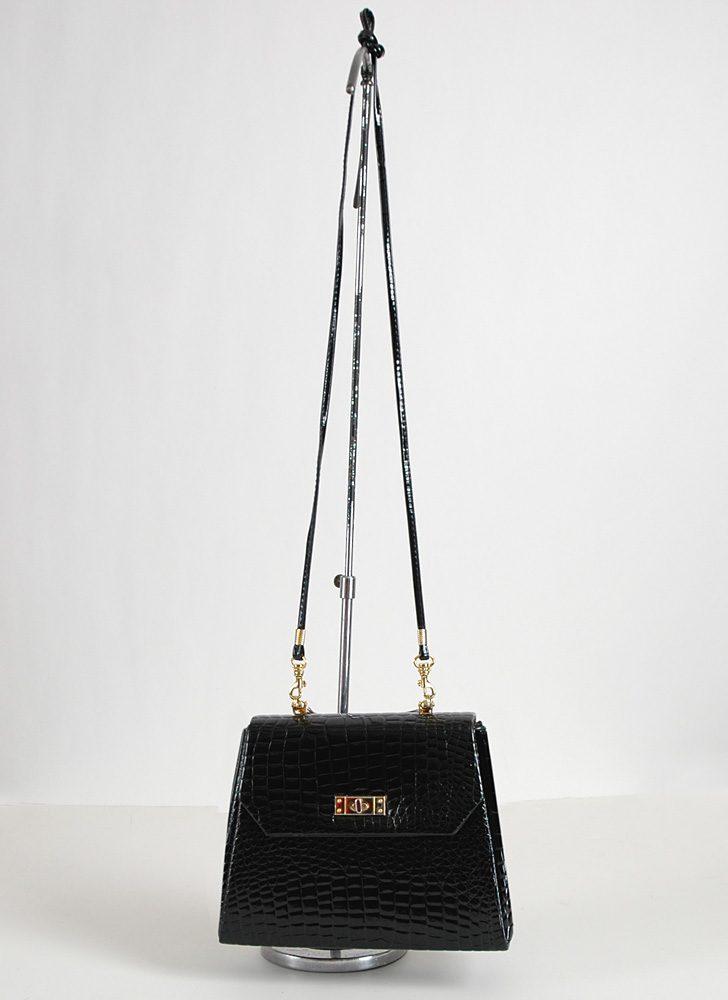 1960s Robert Bestién croc patent bag