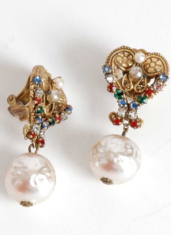 1950s signed Miriam Haskell earrings
