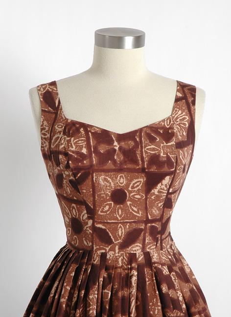 1950s Brown Hawaiian Tiki Dress Hemlock Vintage Clothing