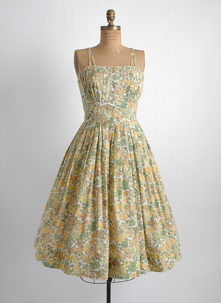 1950s pintucked bodice floral cotton dress