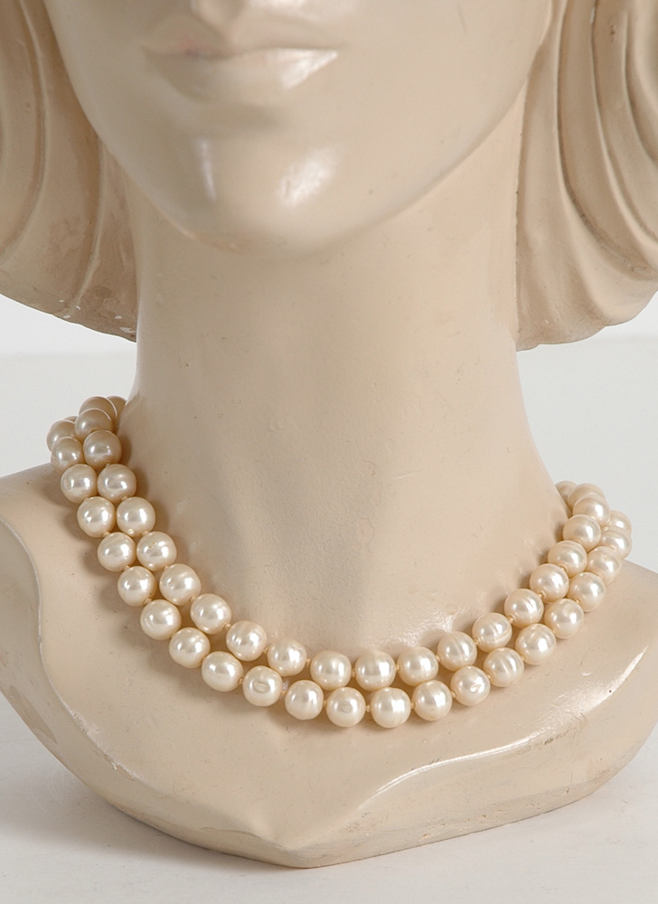 Vendome glass pearl necklace with sterling clasp
