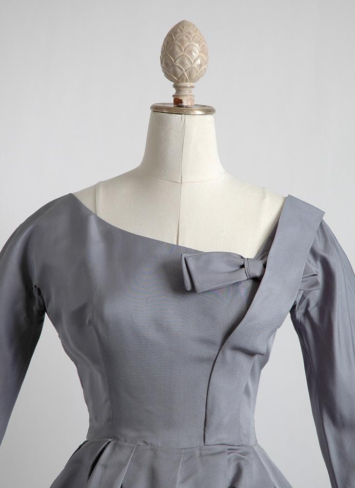 1950s Harvey Berin blue silk satin cocktail dress (as-is)