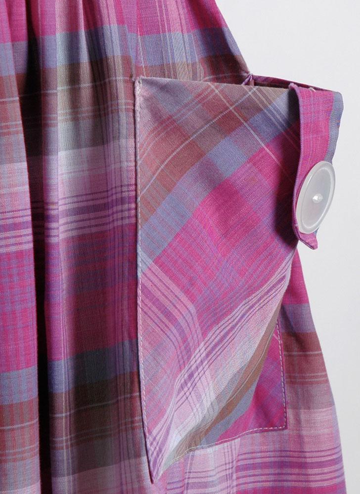 1950s Purple Pink Plaid Cotton Summer Dress Hemlock