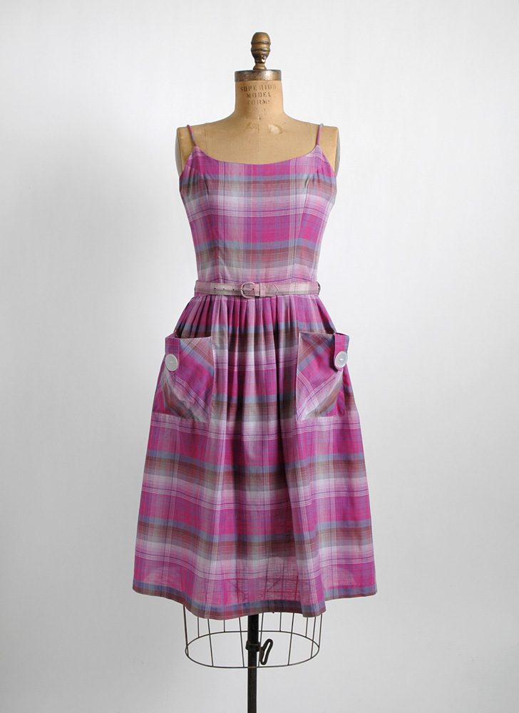 1950s purple + pink plaid cotton summer dress