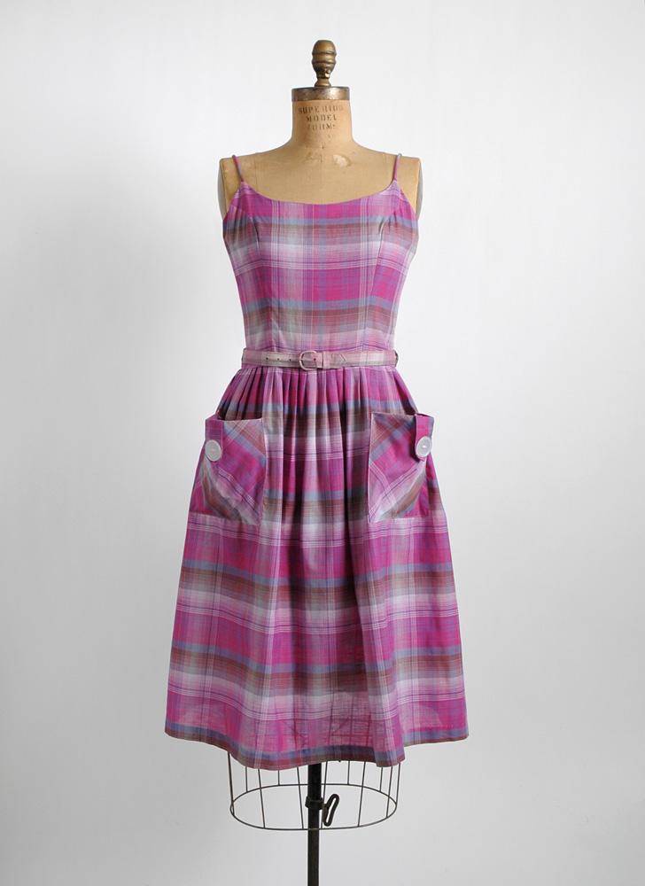 1950s purple + pink plaid cotton summer dress