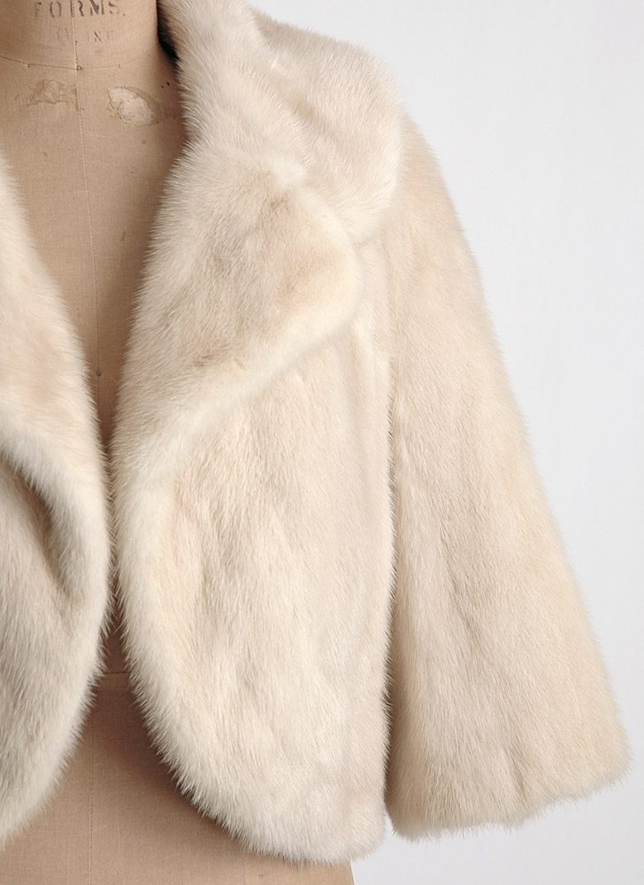 1950s 60s blonde mink cropped jacket