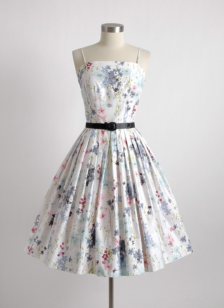 1950s white floral polished cotton dress