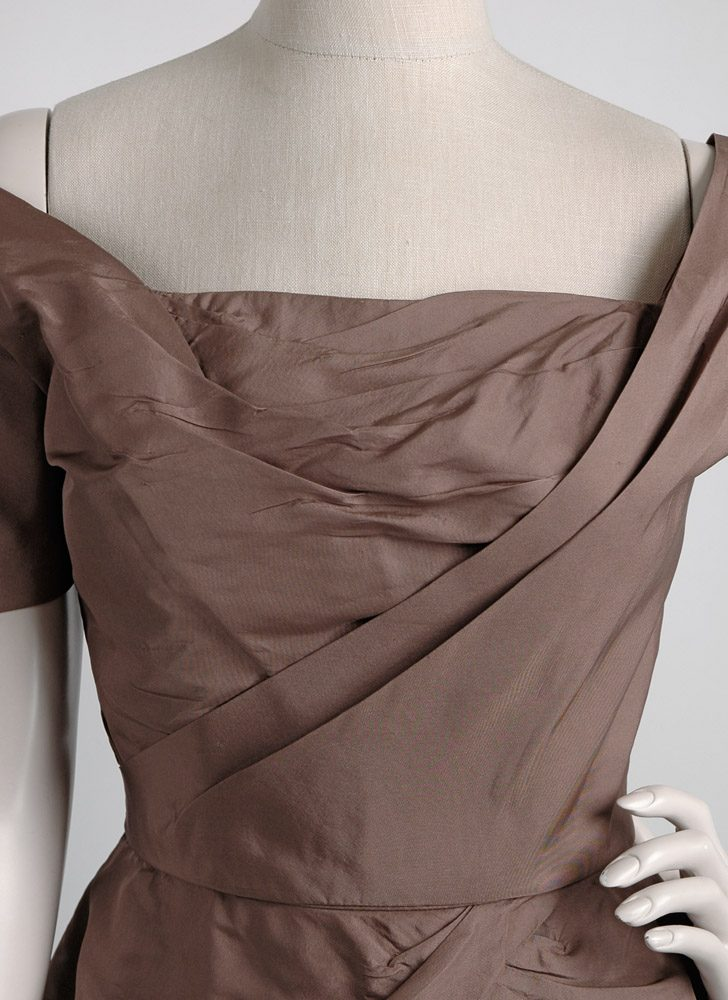 1950s Ceil Chapman sculptural brown silk dress