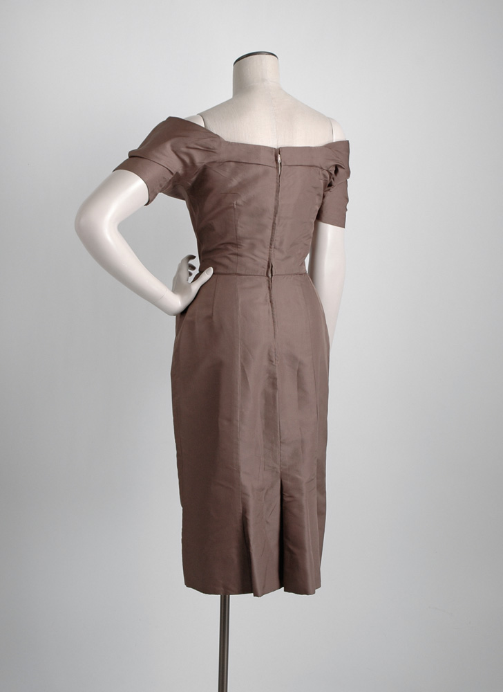 1950s Ceil Chapman sculptural brown silk dress