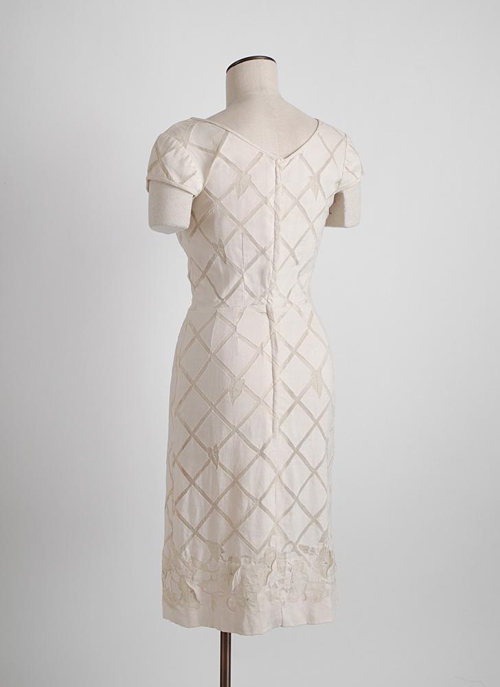 1950s David Goodstein linen + silk organza dress (issues)