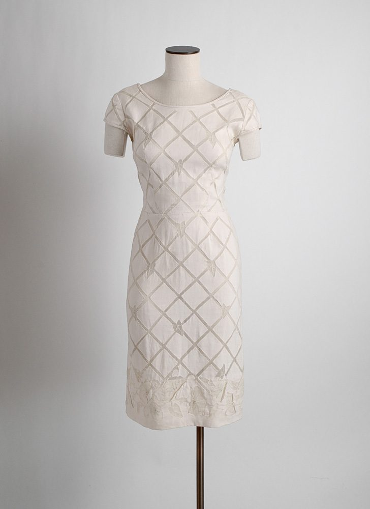 1950s David Goodstein linen + silk organza dress (issues)