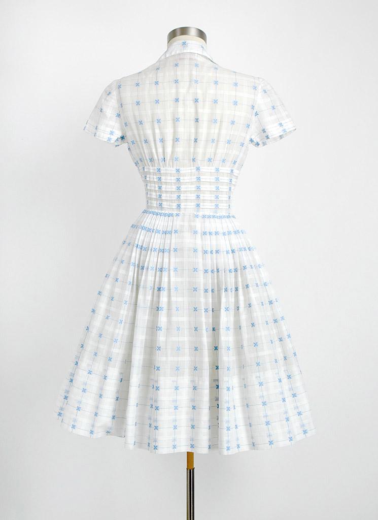 1950s Sheer White Organdy Dress Hemlock Vintage Clothing