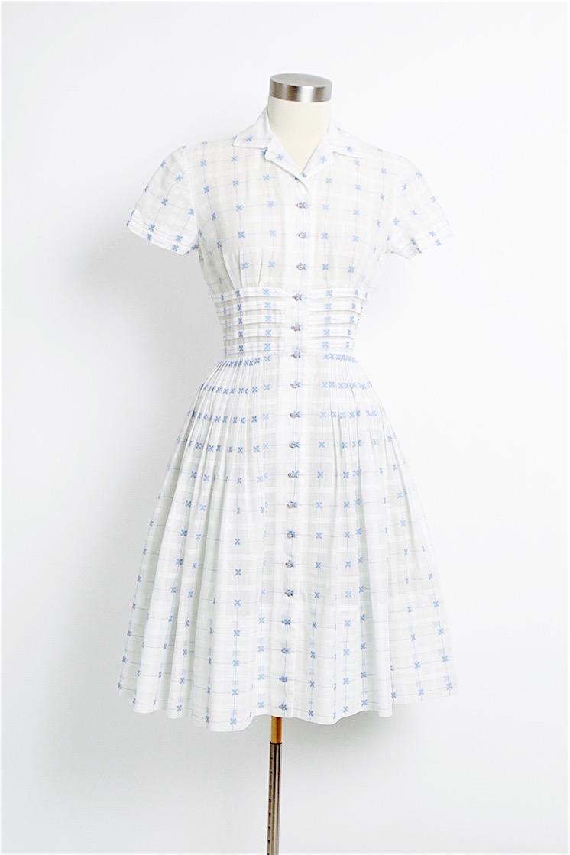 1950s sheer white organdy dress