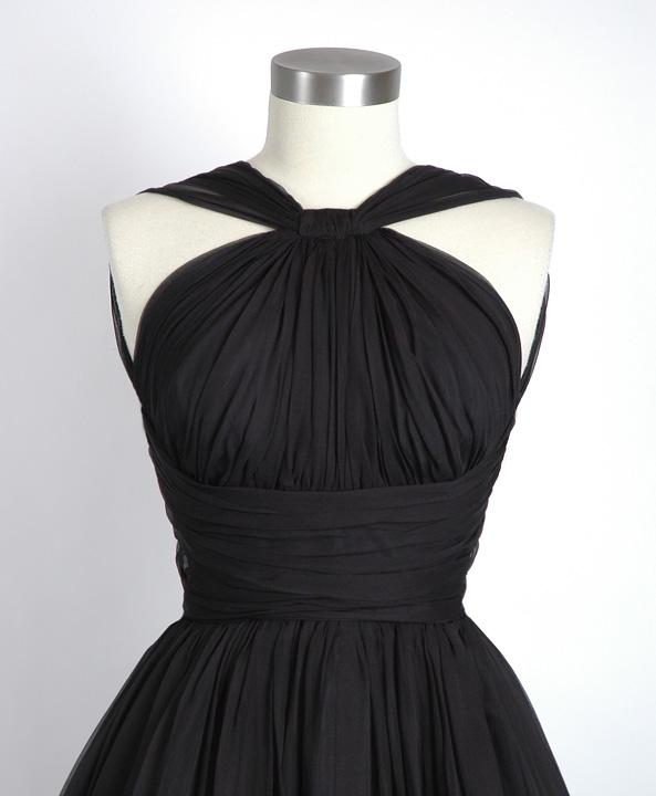 1950s black gathered chiffon party dress