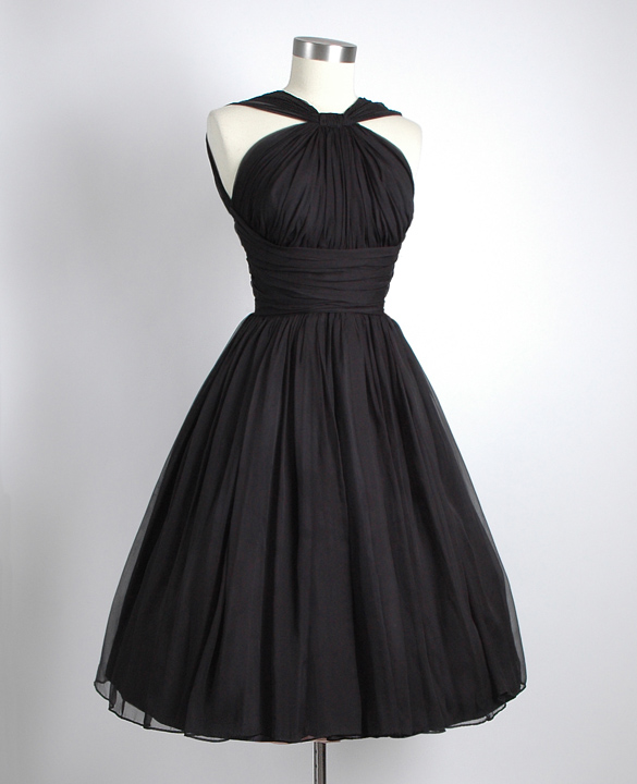 1950s black gathered chiffon party dress