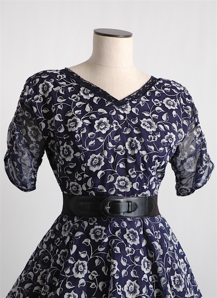 1950s flocked floral dress