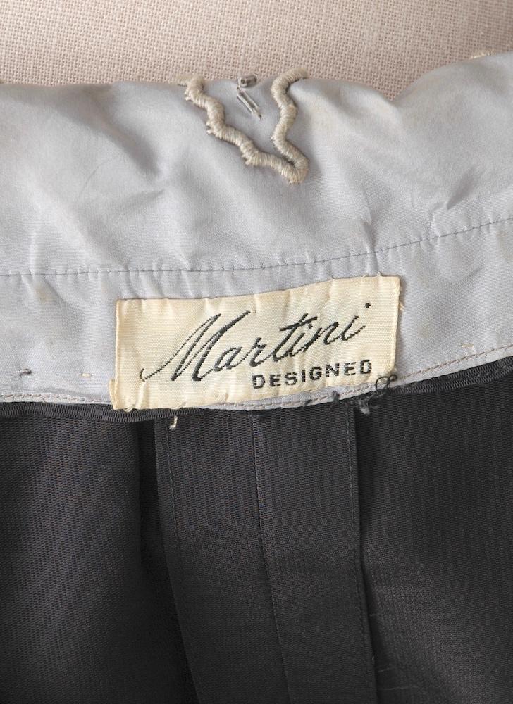 1950s Martini silk dress with dramatic collar