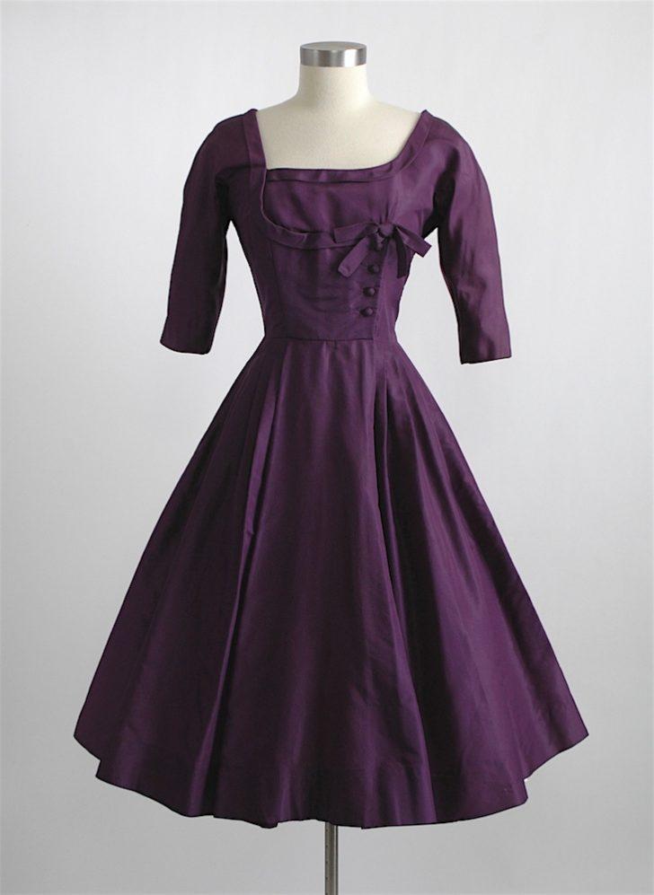 1950s Mollie Parnis purple silk dress