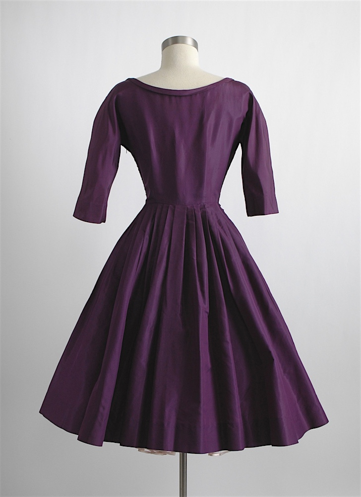 1950s Mollie Parnis purple silk dress