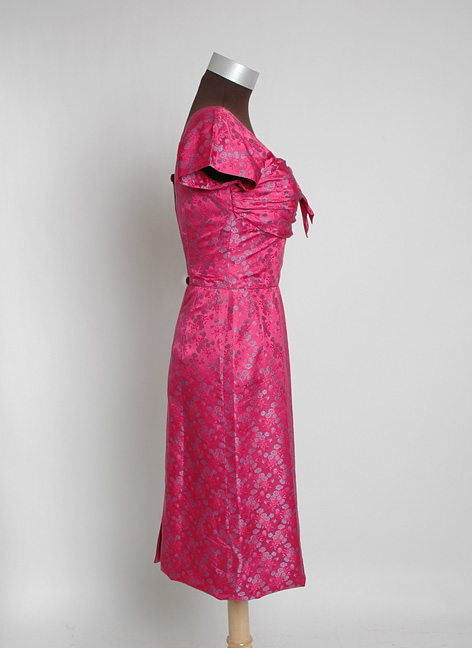 1950s cerise silk damask Marjorie Michael cocktail dress