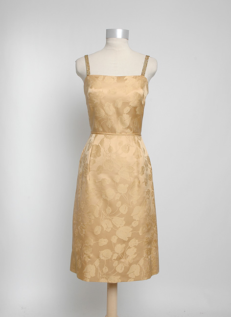 1950s Gothé Bonwit Teller gold silk damask dress + jacket