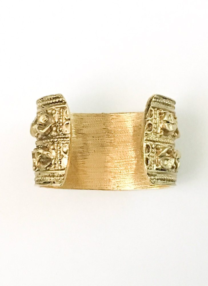 1950s 60s antiqued goldtone cuff bracelet