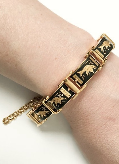 1950s 60s damascene swallows gold link bracelet