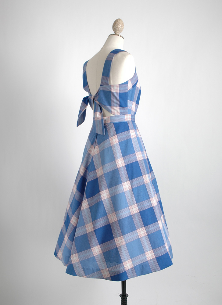 1950s plaid cotton open back dress