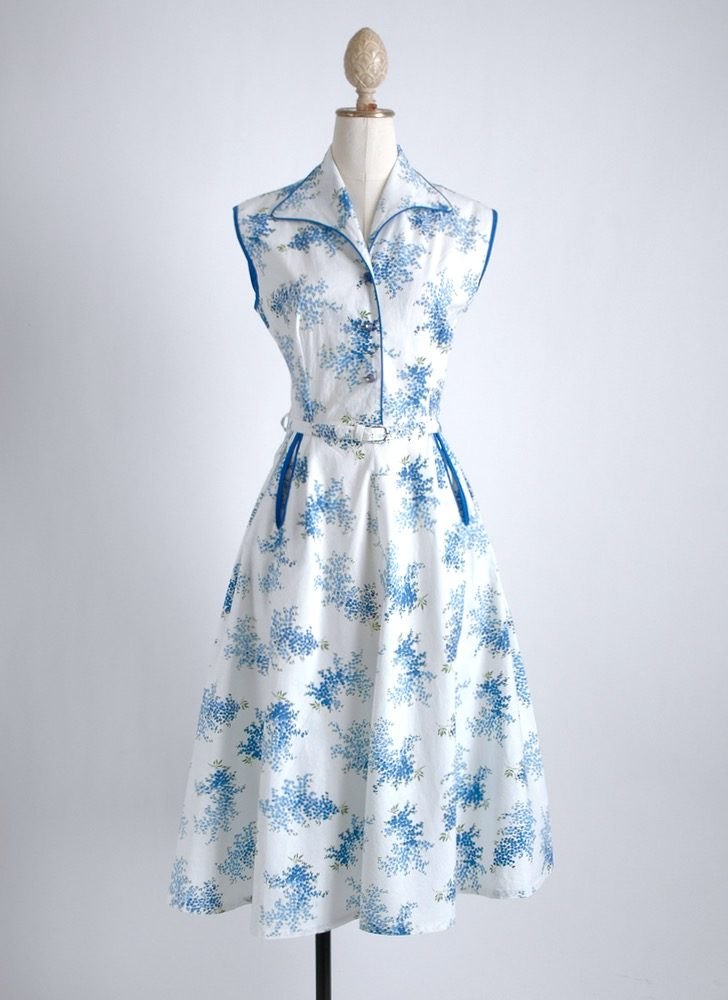 1950s blue + white cotton floral dress