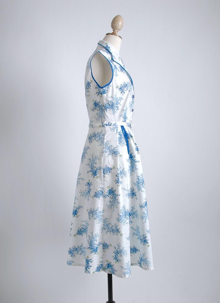 1950s blue + white cotton floral dress