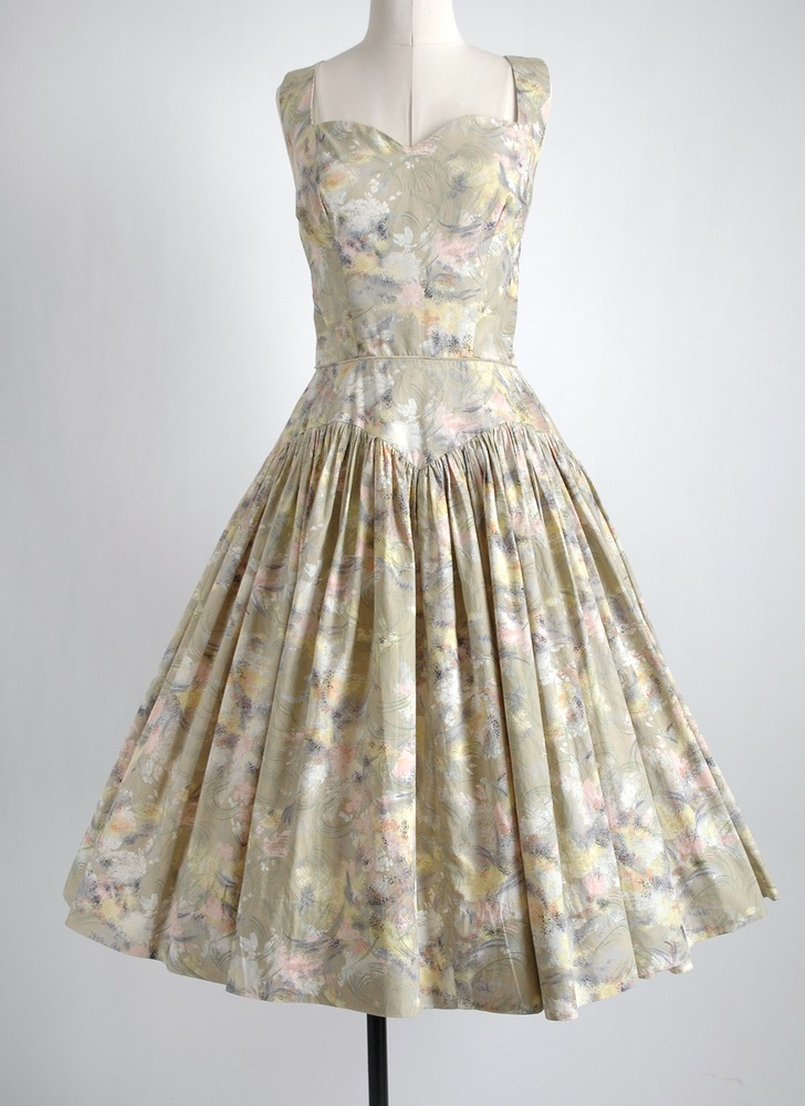 1950s Rappi green floral cotton dress