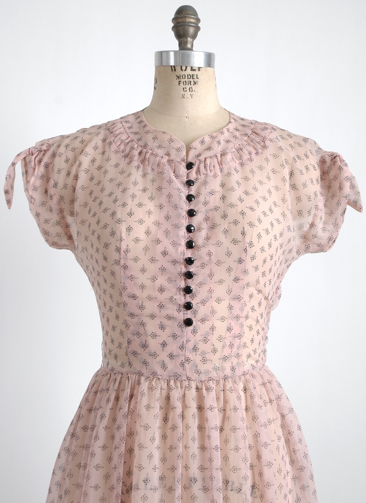 1950s pink + black sheer nylon dress