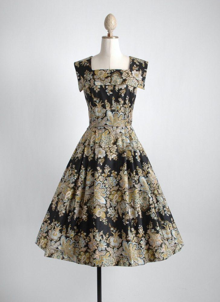 1950s black polished cotton floral dress
