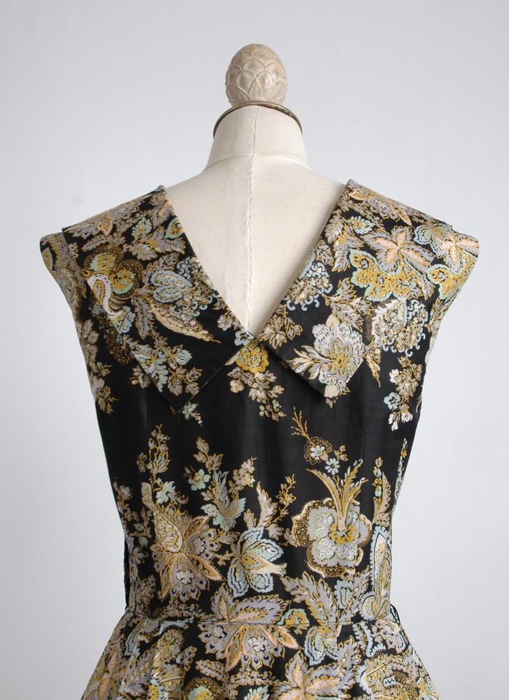 1950s black polished cotton floral dress
